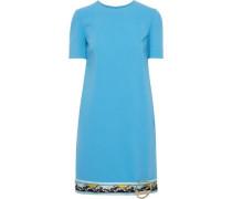 Woman Embellished Printed Twill-trimmed Wool-blend Mini Dress Light Blue