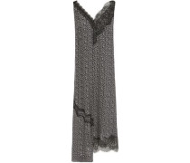 Woman Asymmetric Lace-trimmed Floral-print Silk Crepe De Chine Midi Dress Black
