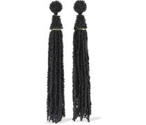 Gold-tone Beaded Tassel Earrings Black Size --
