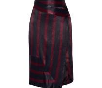Wrap-effect Striped Satin Skirt Midnight Blue