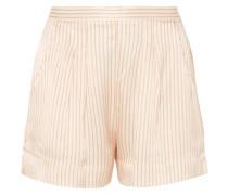 Riga Frutti Hammered Striped Silk-satin Pajama Shorts Cream Size 1