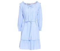 Ruffle-trimmed Pintucked Cotton-poplin Mini Dress Sky Blue