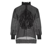 Lace-appliquéd silk-chiffon blouse