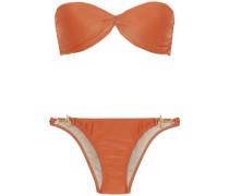 Twist-front Bandeau Bikini Orange