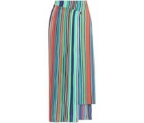 Wrap-effect striped crepe midi skirt