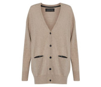 Mélange wool and cashmere-blend cardigan