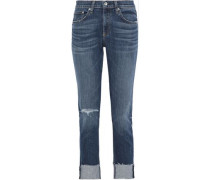 Dre Distressed Boyfriend Jeans Mid Denim  3