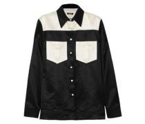 Two-tone Cotton-blend Satin Shirt Black