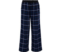 Checked Flannel Pajama Pants Navy