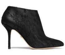 Lace-paneled leather ankle boots