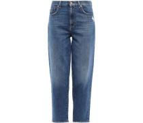 Distressed High-rise Boyfriend Jeans Mid Denim  3