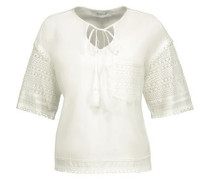 Crochet-paneled jersey top