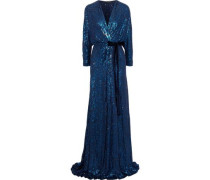 Velvet-trimmed sequined silk wrap gown