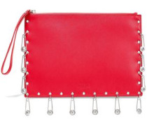 Embellished Textured-leather Pouch Red Size --