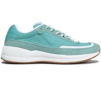 Suede And Shell-paneled Sneakers Turquoise