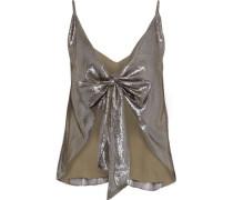 The Arlo Bow-detailed Silk-blend Lamé Camisole Gunmetal
