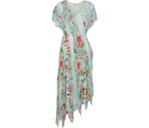 Kadence Corded Lace And Floral-print Silk-georgette Midi Dress Sky Blue Size 0