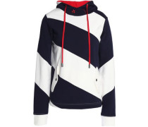 Embroidered striped cotton-terry hooded sweatshirt