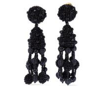 Beaded Clip Earrings Black Size --