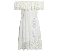 Haven Belted Guipure Lace Dress Off-white