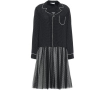 Woman Paneled Silk Crepe De Chine And Point D'esprit Midi Dress Black
