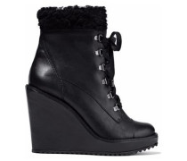Faux fur-trimmed leather wedge ankle boots