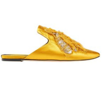 Ragno Embroidered Satin Slippers Mustard