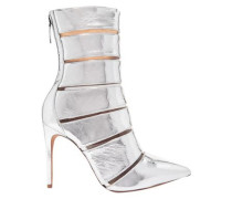 Woman Sommer Metallic Leather And Perspex Ankle Boots Silver