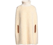 Crochet-trimmed faux shearling turtleneck poncho