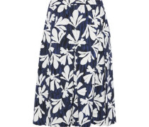 Pleated Floral-print Stretch-cotton Twill Skirt Navy