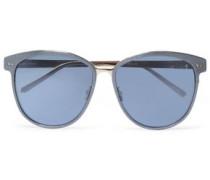 Round-frame gold-tone and acetate sunglasses