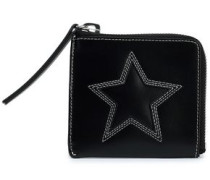 Embroidered Leather Wallet Black Size --