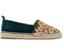 Kenda Suede And Embroidered Canvas Espadrilles Emerald