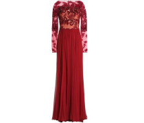 Embellished tulle and pleated silk-blend chiffon gown
