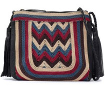 Tikki embroidered leather shoulder bag