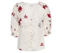 Floral-print Silk Crepe De Chine Blouse Ivory