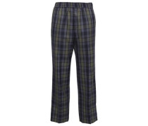 Checked Wool-blend Straight-leg Pants Navy