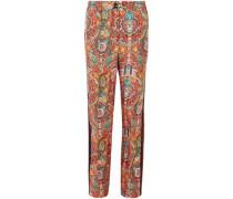 Woman Printed Silk-twill Straight-leg Pants Multicolor