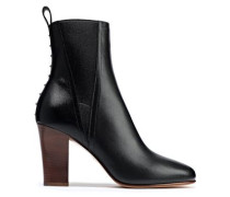 Woman Studded Leather Ankle Boots Black