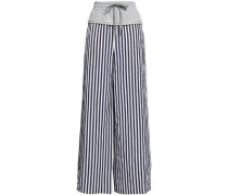 French Cotton Terry-paneled Pinstriped Twill Wide-leg Pants Indigo