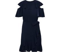 Cold-shoulder wrap-effect ruffled crepe dress