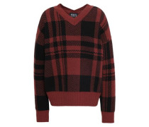 Checked Wool-jacquard Sweater Brown