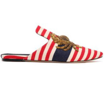 Metallic Embroidered Striped Canvas Slippers Claret