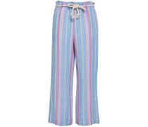 Cropped Striped Linen Wide-leg Pants Light Blue