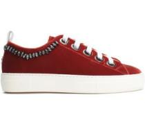 Woman Crystal-embellished Velvet Sneakers Crimson