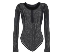Velvet-trimmed mesh bodysuit