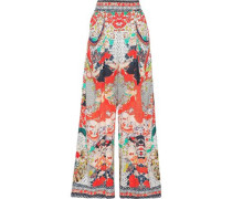 Woman Geisha Girl Printed Silk Crepe De Chine Wide-leg Pants Tomato Red