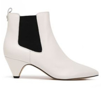Two-tone Leather Ankle Boots Off-white