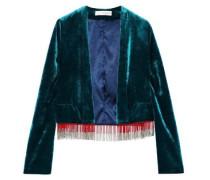 Moss Fringe-trimmed Velvet Jacket Emerald