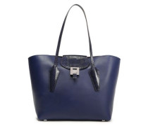 Smooth And Snake-effect Leather Tote Navy Size --